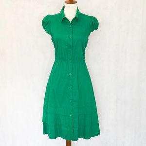 Anthropologie Maeve Green Fit & Flare Dress